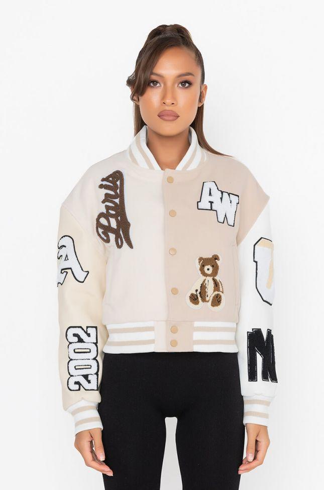 Side View Azalea Wang Beige Ruela Varsity Jacket
