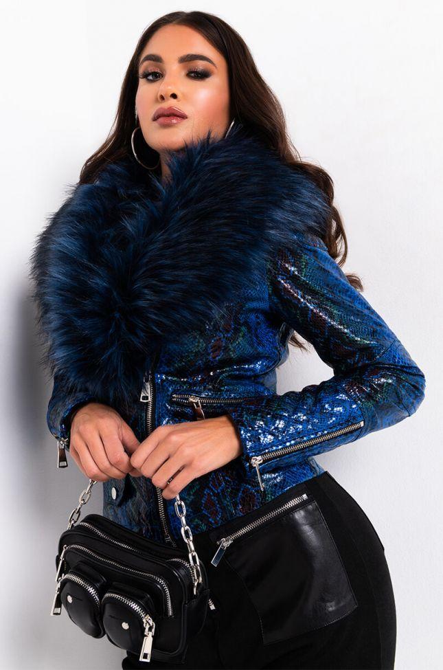 Front View Azalea Wang Benny Fur Collar Snake Jacket in Blue Multi