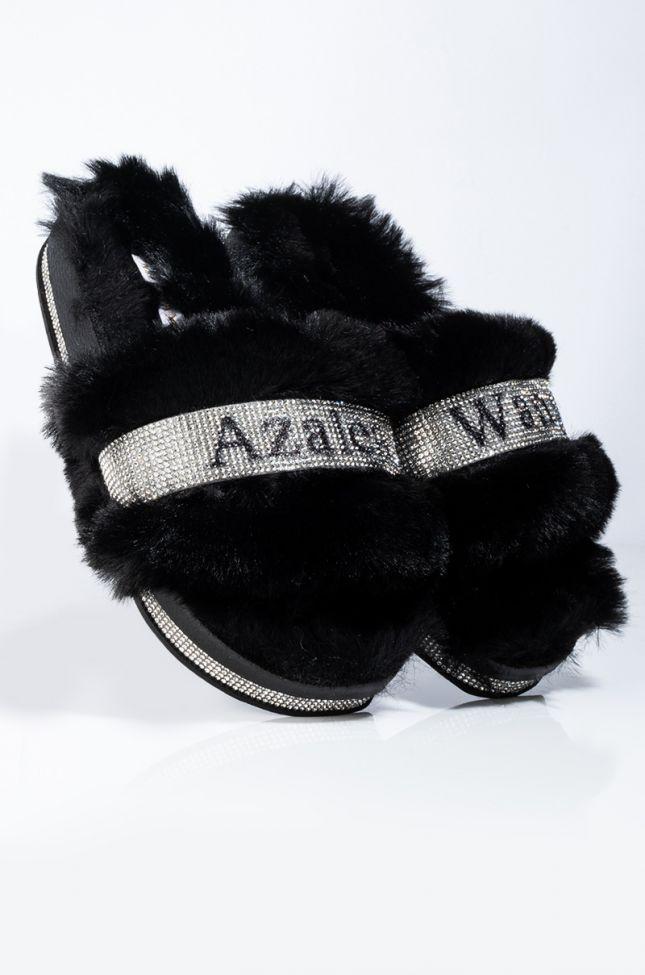 Detail View Azalea Wang Bling Bling Flat Diamond Sandal In Black in Black