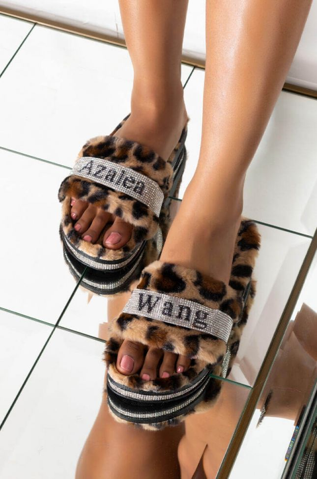 Front View Azalea Wang Bling Bling Flat Diamond Sandal In Leopard in Leopard