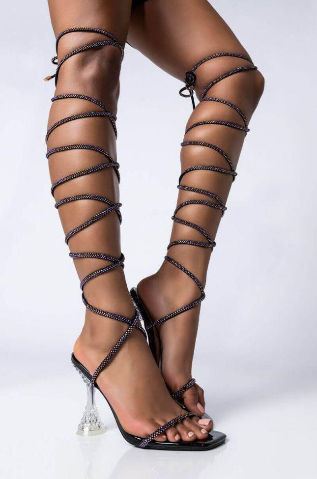 Front View Azalea Wang Bling Bling Lace Up Sandal In Black in Black