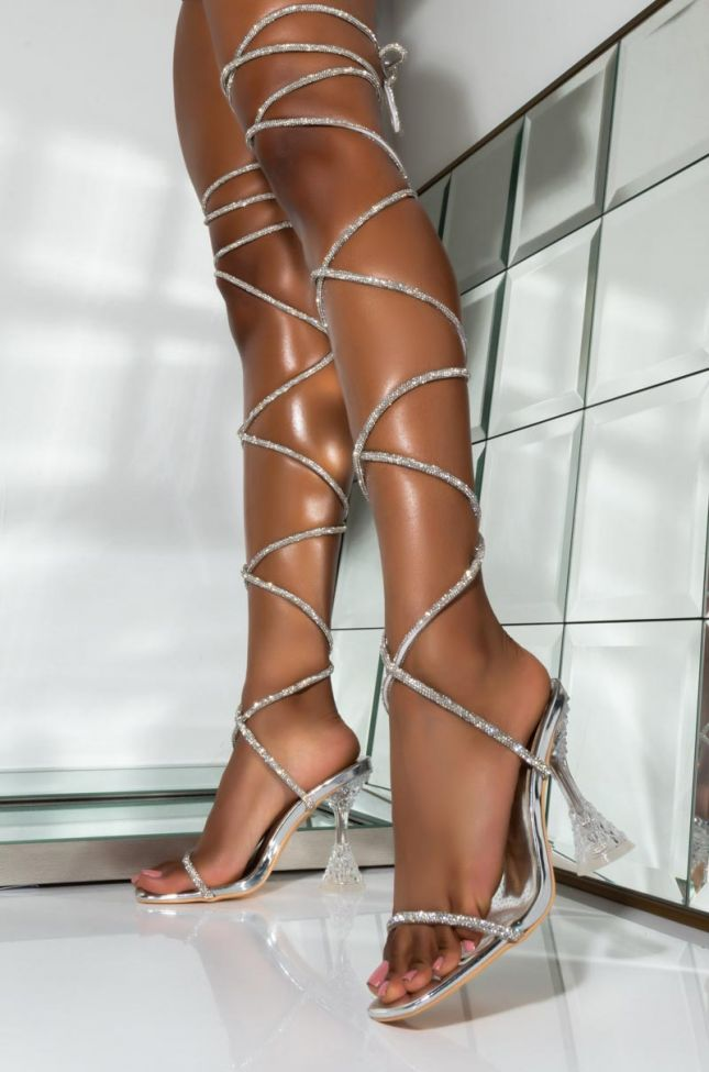 Front View Azalea Wang Bling Bling Lace Up Sandal In Silver in Silver