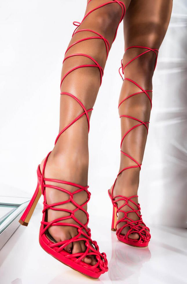 Front View Azalea Wang Bondage Lace Up Stiletto Sandal In Coral in Coral