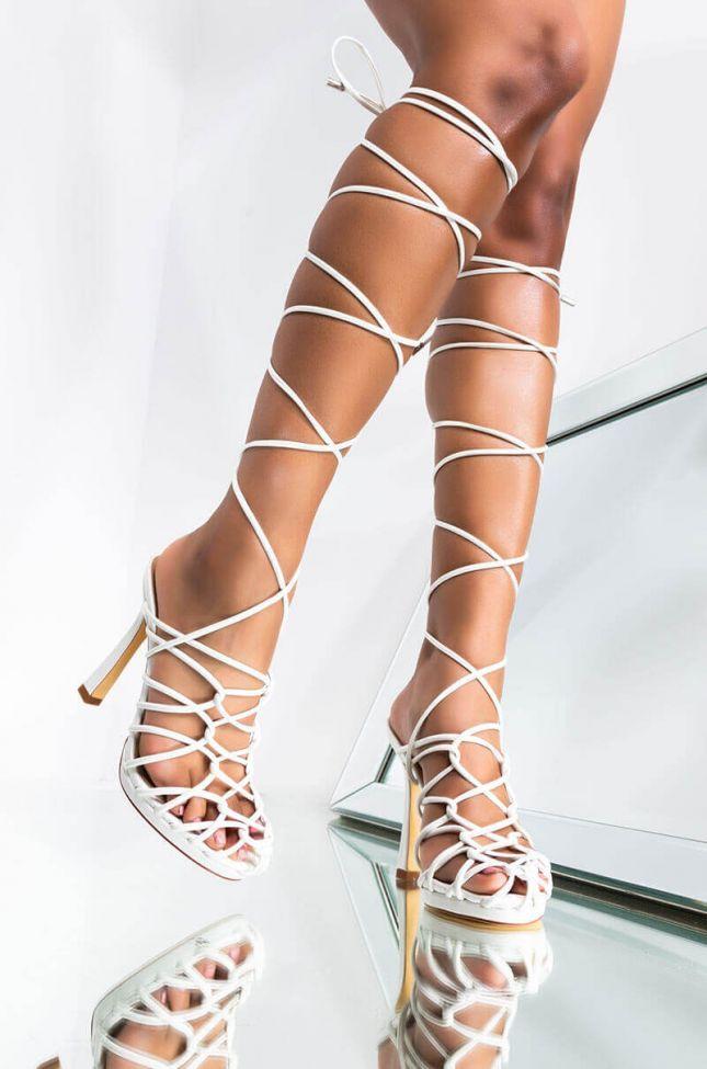 Front View Azalea Wang Bondage Lace Up Stiletto Sandal In White in White