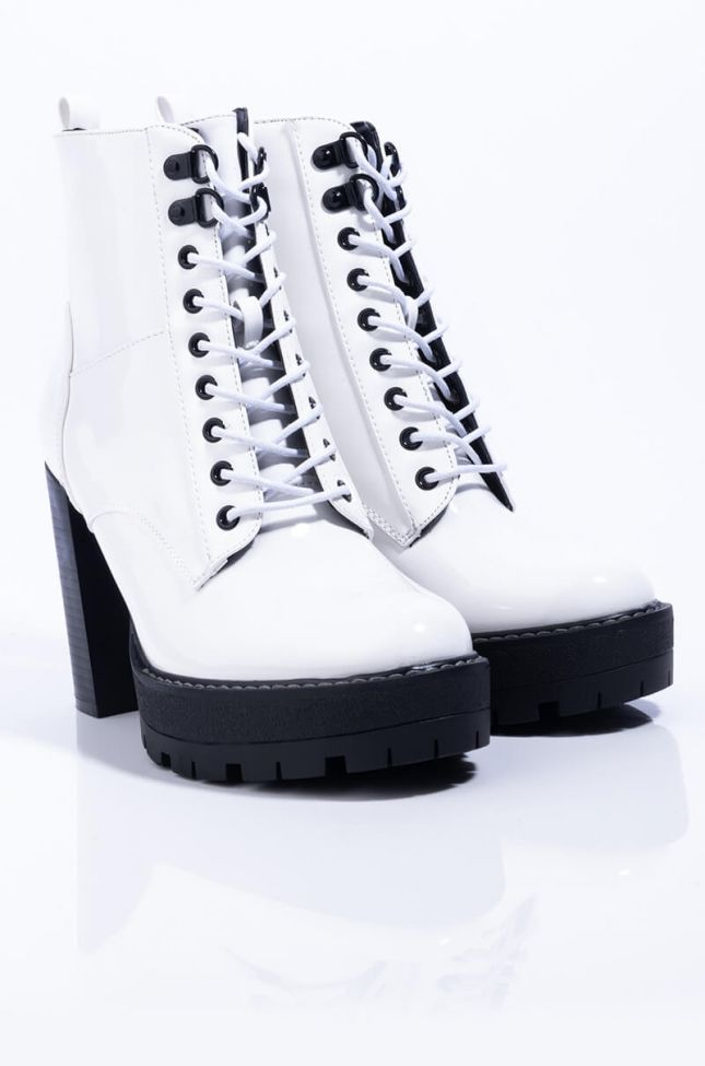 Detail View Azalea Wang Cant Go To Sleep Chunky Heel Lace Up Bootie in White Patent