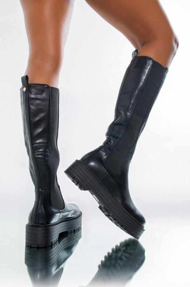AZALEA WANG CAN'T RAIN ON ME FLATFORM BOOT IN BLACK