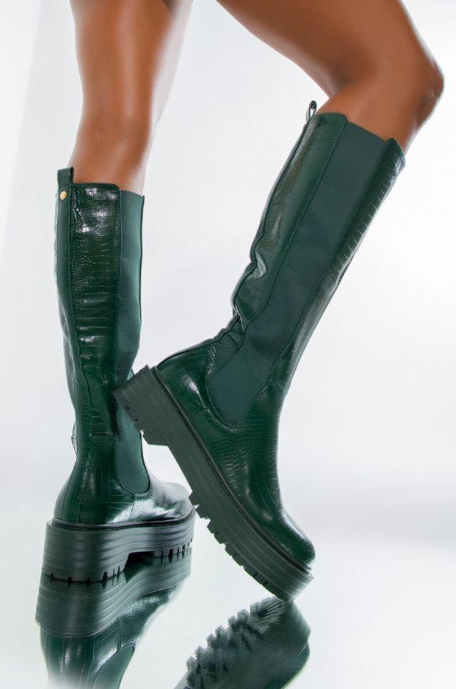 AZALEA WANG CAN'T RAIN ON ME FLATFORM BOOT IN GREEN