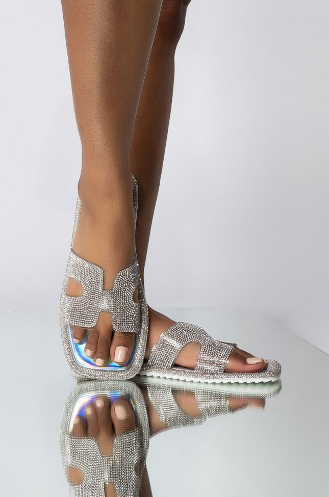 Front View Azalea Wang Cant Stop Me Now Flat Sandal In Holo in Holo