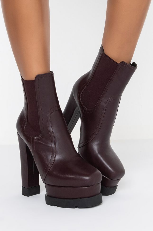 Side View Azalea Wang Cant Tie Me Down Chunky Bootie In Brown
