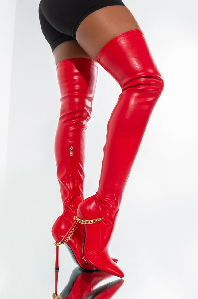 AZALEA WANG CHAINS ON CHAINS STILETTO BOOT IN RED