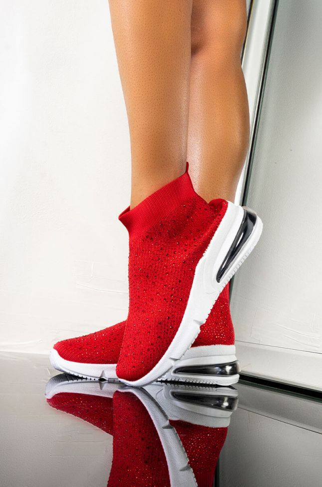 Front View Azalea Wang Come And Get It Flat Diamond Sneaker In Red in Red