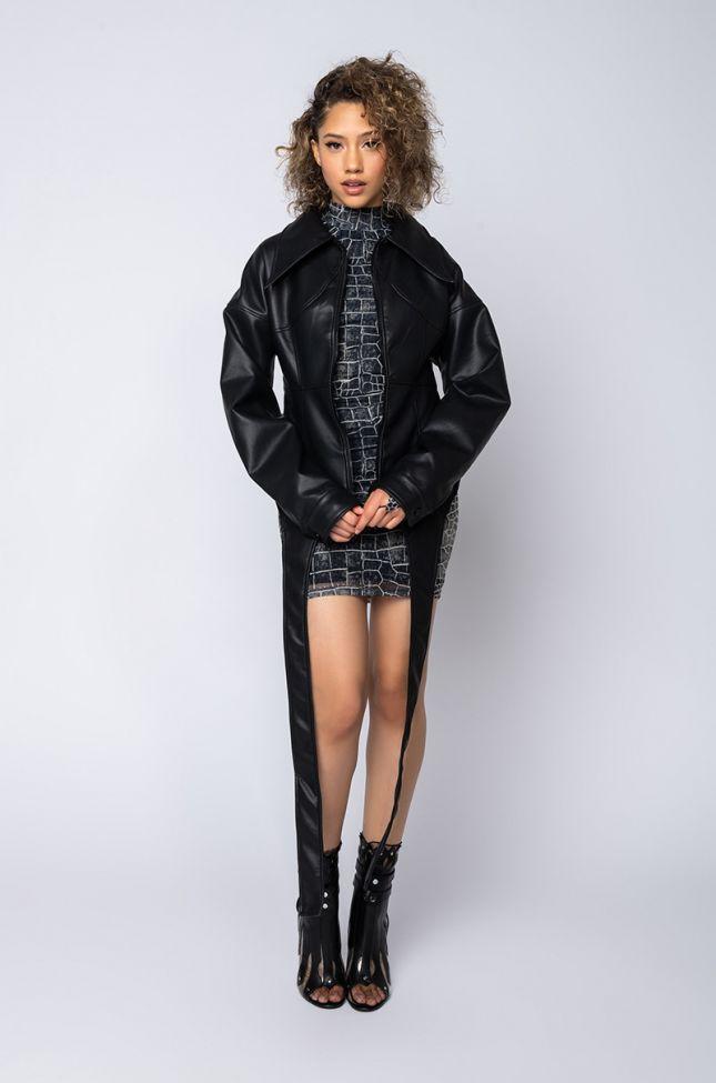 Back View Azalea Wang Corset Pleather Jacket in Black