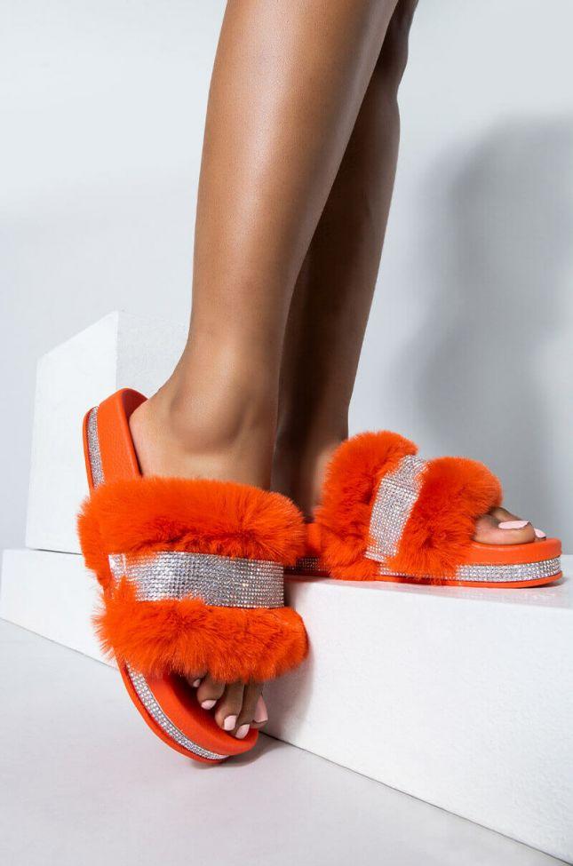 Front View Azalea Wang Cozy Nights Flat Sandal In Orange in Orange