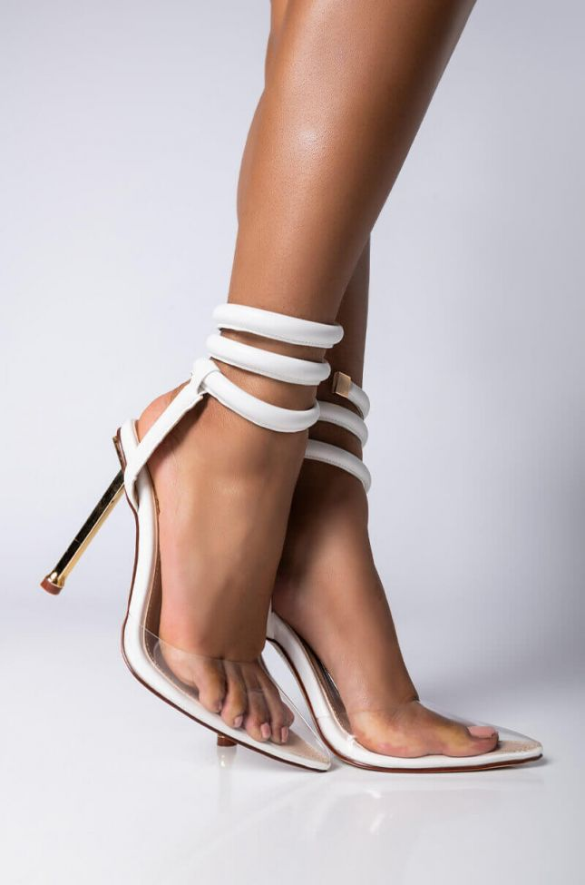 Front View Azalea Wang Craving For More Stiletto Pump In White in White