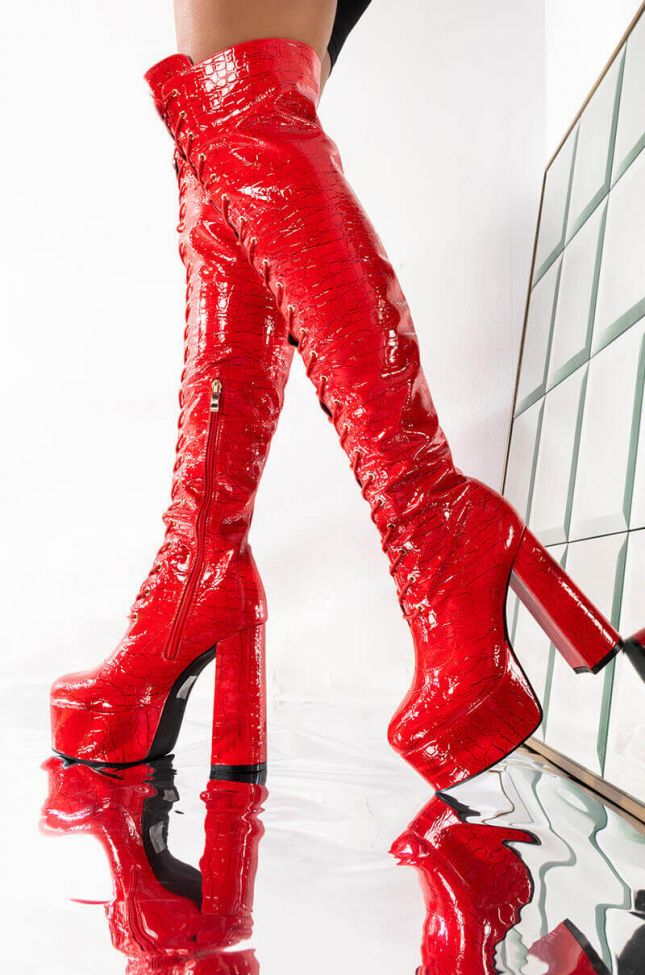 Front View Azalea Wang Craving For Your Sugar Chunky Heel Boot In Red Croc in Red