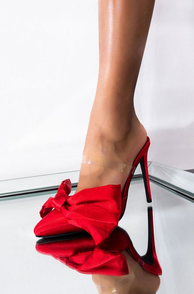 Front View Azalea Wang Cute Lil Thang Stiletto Heel Pump In Red in Red