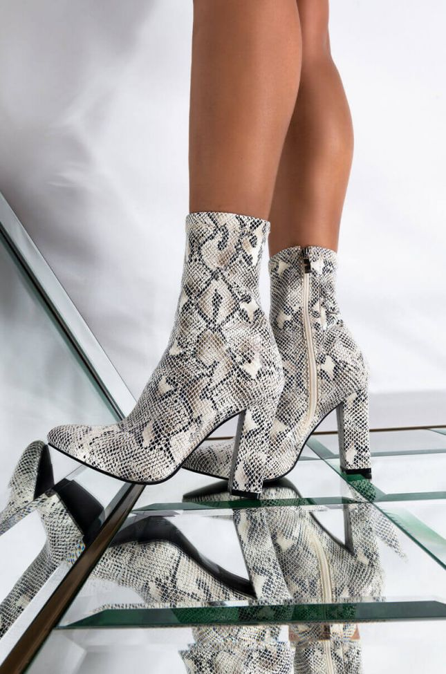 Front View Azalea Wang Dazed By Your Smile Bootie In White Snake in White Snake
