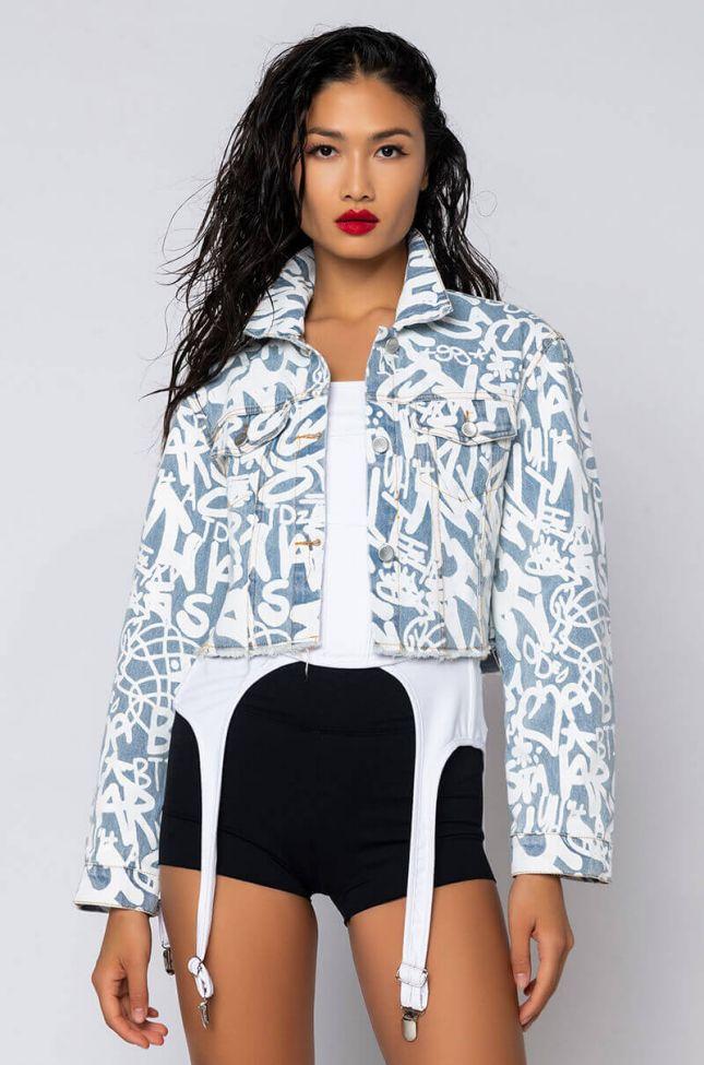 Front View Azalea Wang Denim Scribble Crop Jacket in Light Blue Denim