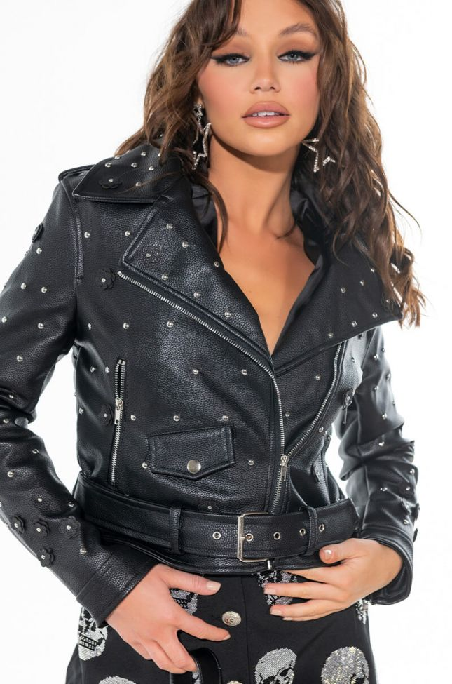 Front View Azalea Wang Ditsy Daisy Moto Jacket