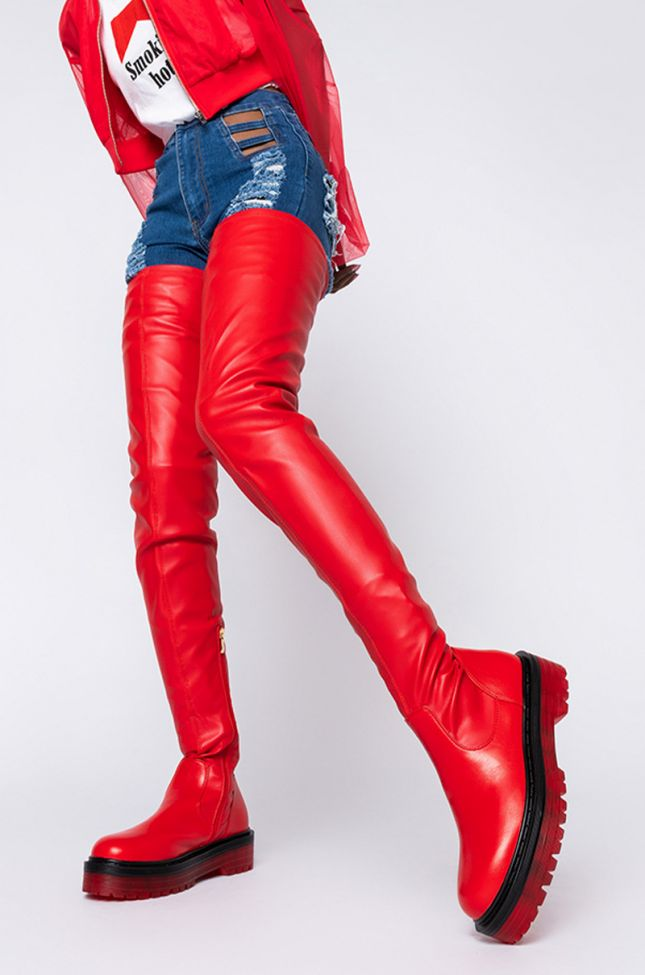 AZALEA WANG DO IT TO YA FLATFORM BOOT IN RED