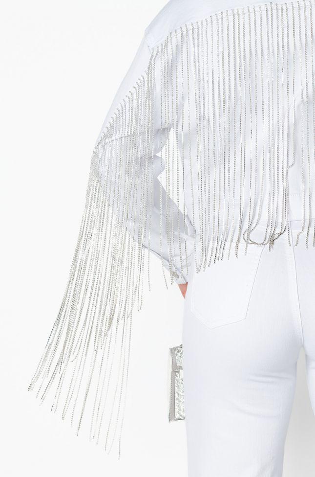 Detail View Azalea Wang Dolly Long Rhinestone Fringe Denim Jacket in White