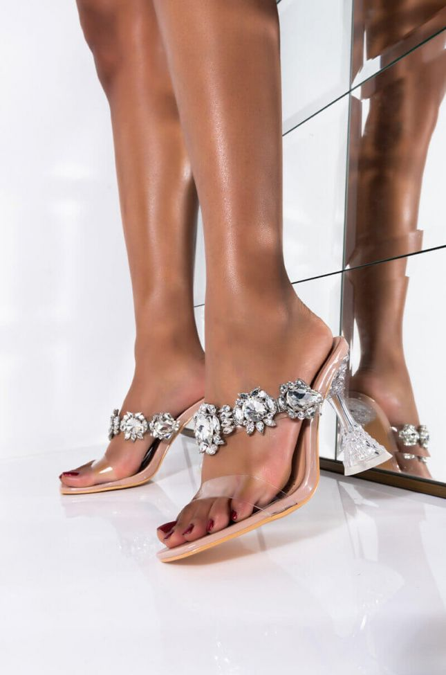 Front View Azalea Wang Dont Bother Me Stiletto Sandal In Nude in Nude