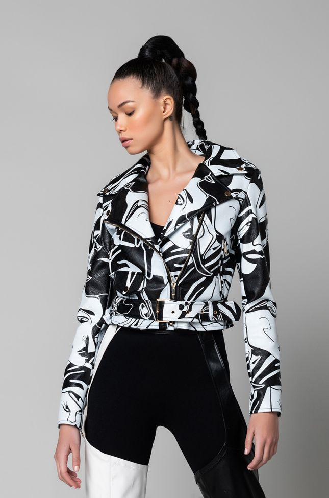 Front View Azalea Wang Dont Cha Graphic Moto Jacket in White Black