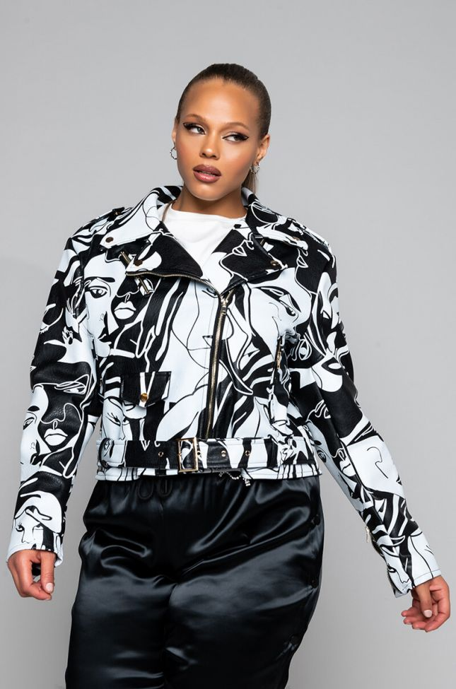 Front View Azalea Wang Dont Cha Plus Graphic Moto Jacket in White Black