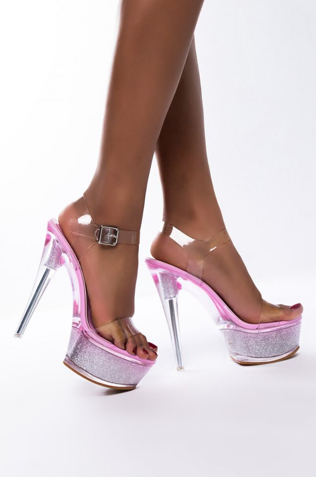 Side View Azalea Wang Dont Play By The Rules Stiletto Sandal In Pink in Pink
