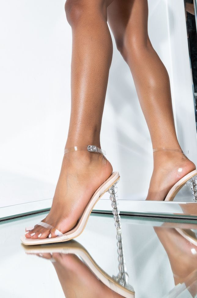 Front View Azalea Wang Dont Play With My Heart Stiletto Heel Sandal in Nude