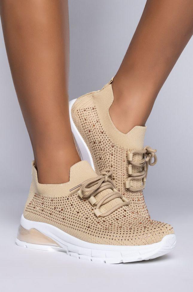 Side View Azalea Wang Dont Stop Now Flatform Sneaker In Tan in Tan