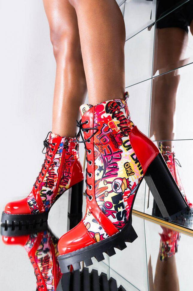 Front View Azalea Wang Doodles Chunky Heel Bootie In Red in Red