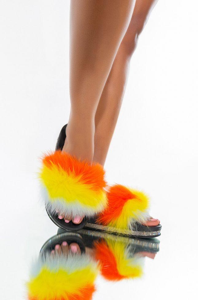 Front View Azalea Wang Dreamt We Spoke Flat Sandal In Orange