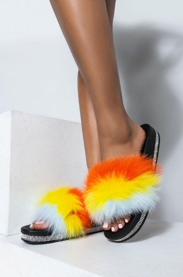 Front View Azalea Wang Dreamt We Spoke Flat Sandal In Orange in Orange Multi