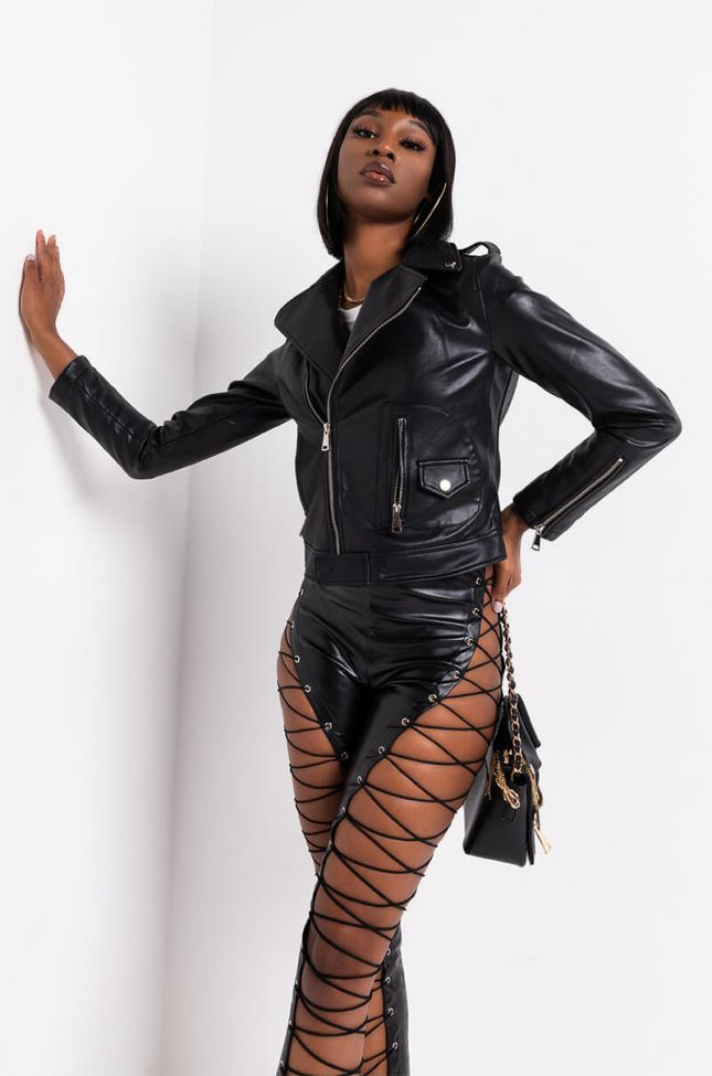 Front View Azalea Wang Everyday Faux Leather Moto Jacket in Black
