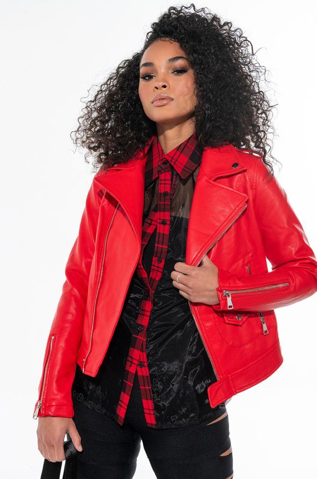 Front View Azalea Wang Everyday Faux Leather Moto Jacket
