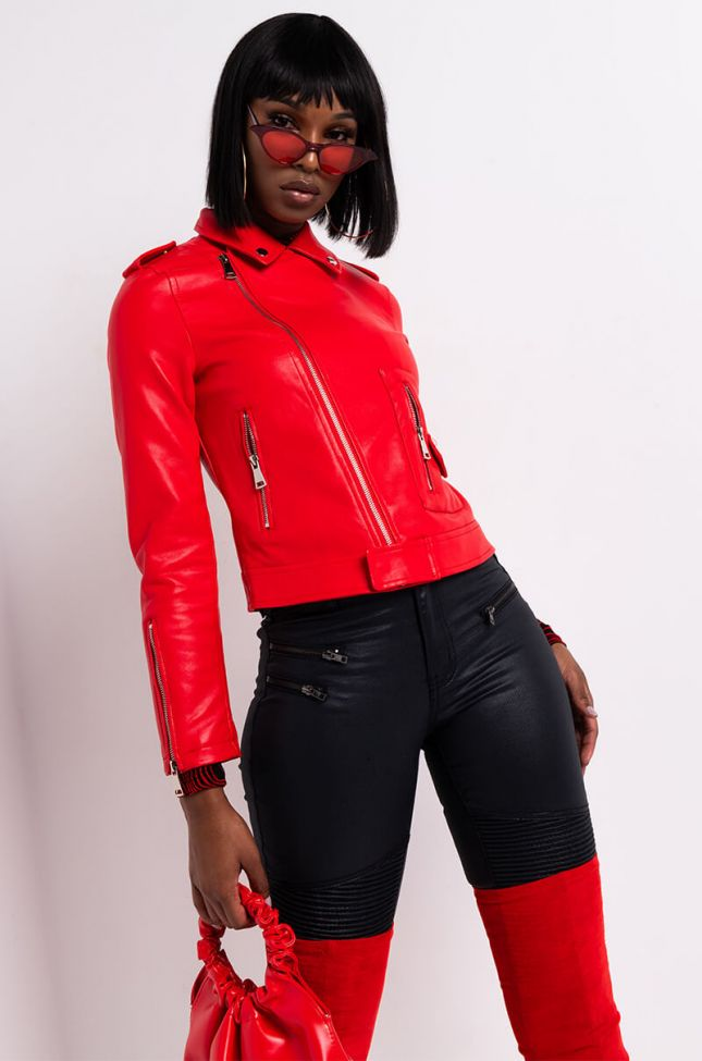 Side View Azalea Wang Everyday Faux Leather Moto Jacket in Red
