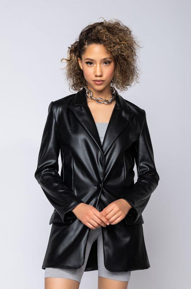 Front View Azalea Wang Faux Luxe Leather Blazer in Black