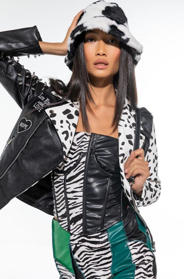 Front View Azalea Wang Fcuk Leopard Moto Jacket