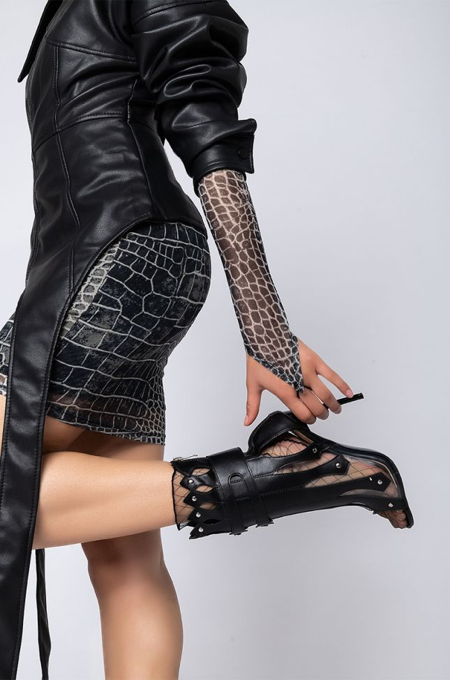 Front View Azalea Wang Fight Me If You Dare Stiletto Bootie in Black