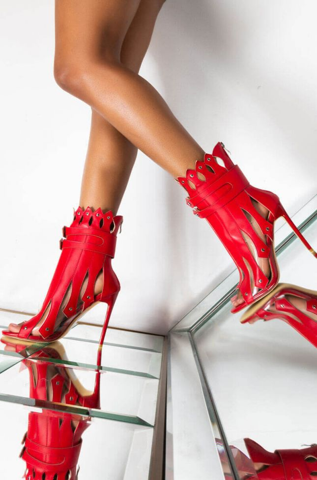 Front View Azalea Wang Fight Me If You Dare Stiletto Bootie in Red