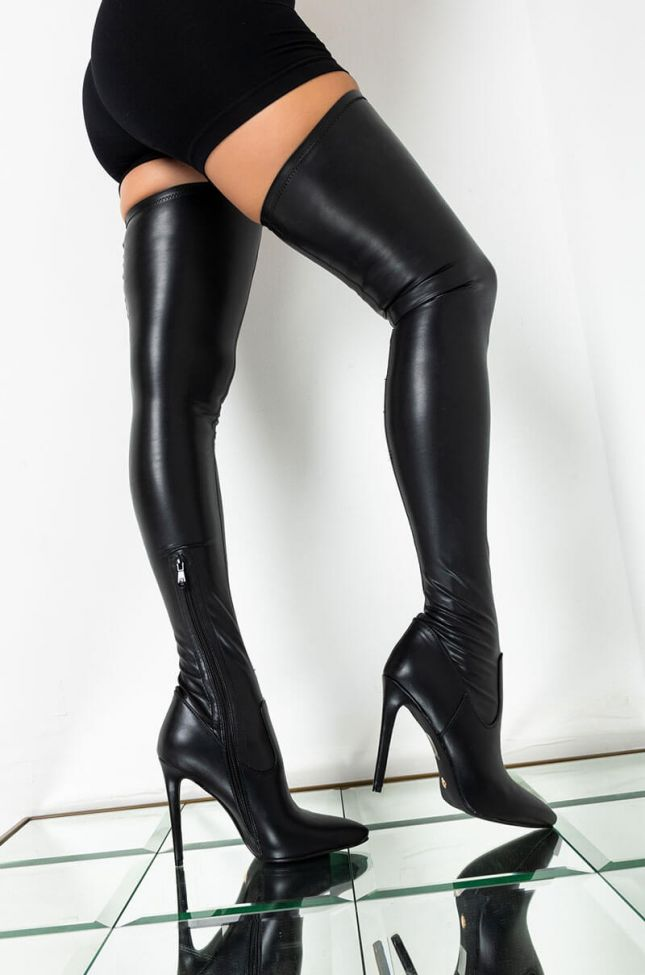 Side View Azalea Wang First To Say Goodbye Fitted Thigh High Stiletto Boot in Black Pu