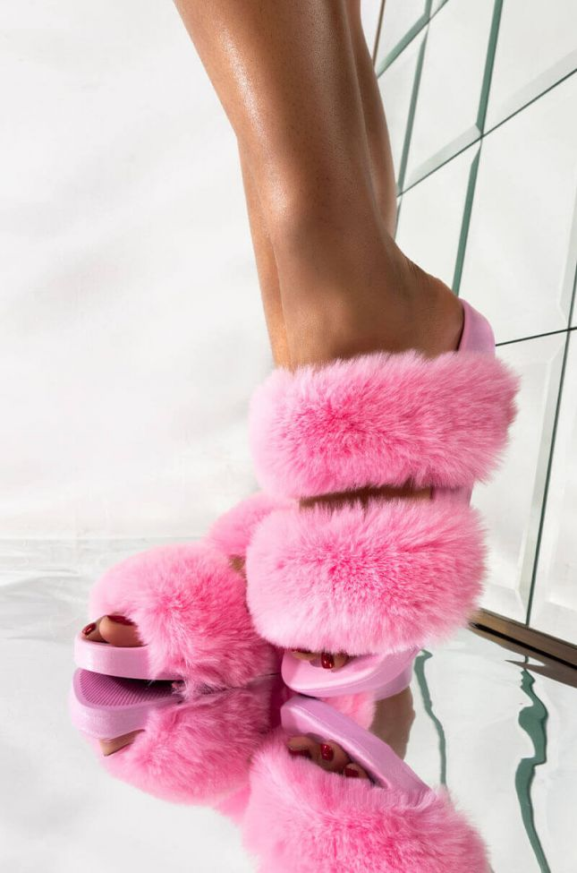 Front View Azalea Wang Get You In That Mood Flat Sandal In Pink in Pink