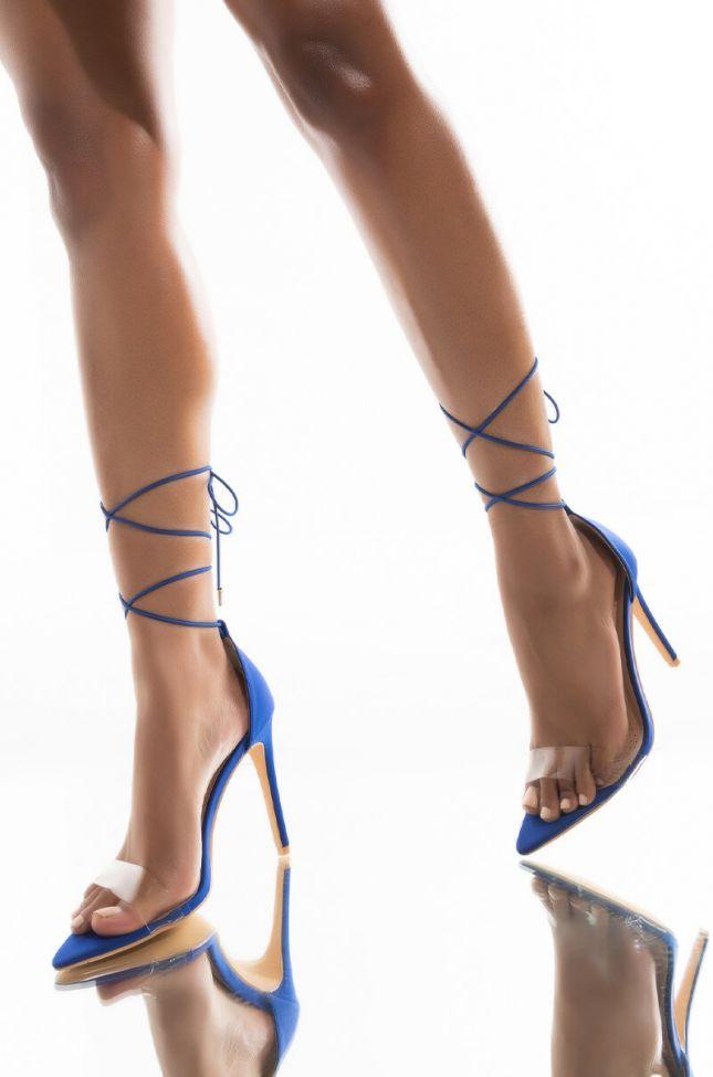 Front View Azalea Wang Gimme The Green Light Stiletto Heeled Sandal