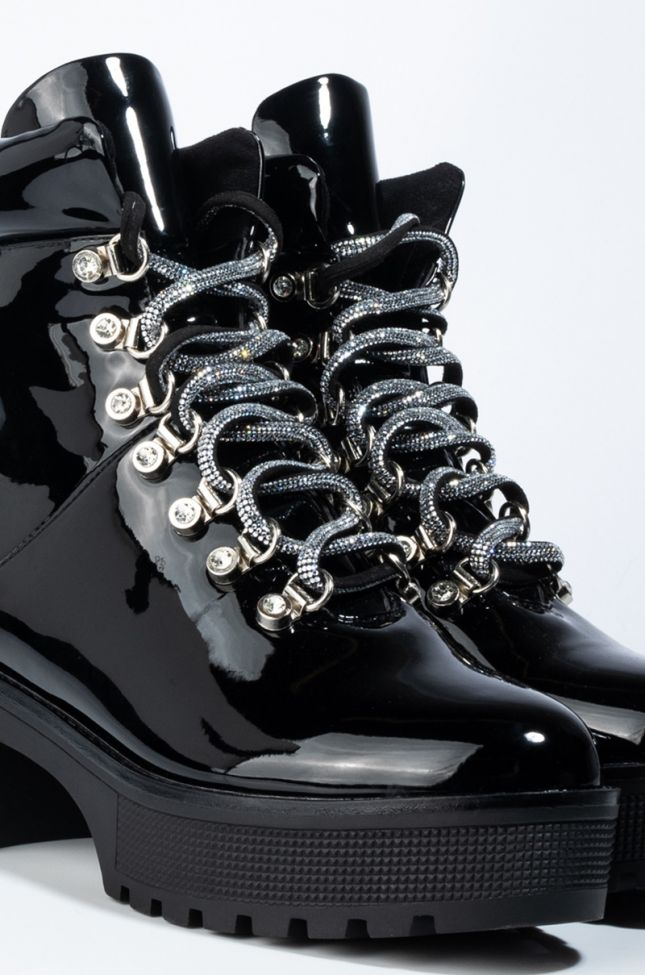 Full View Azalea Wang Girl You Know Youre A Freak Flatform Bootie in Black Patent