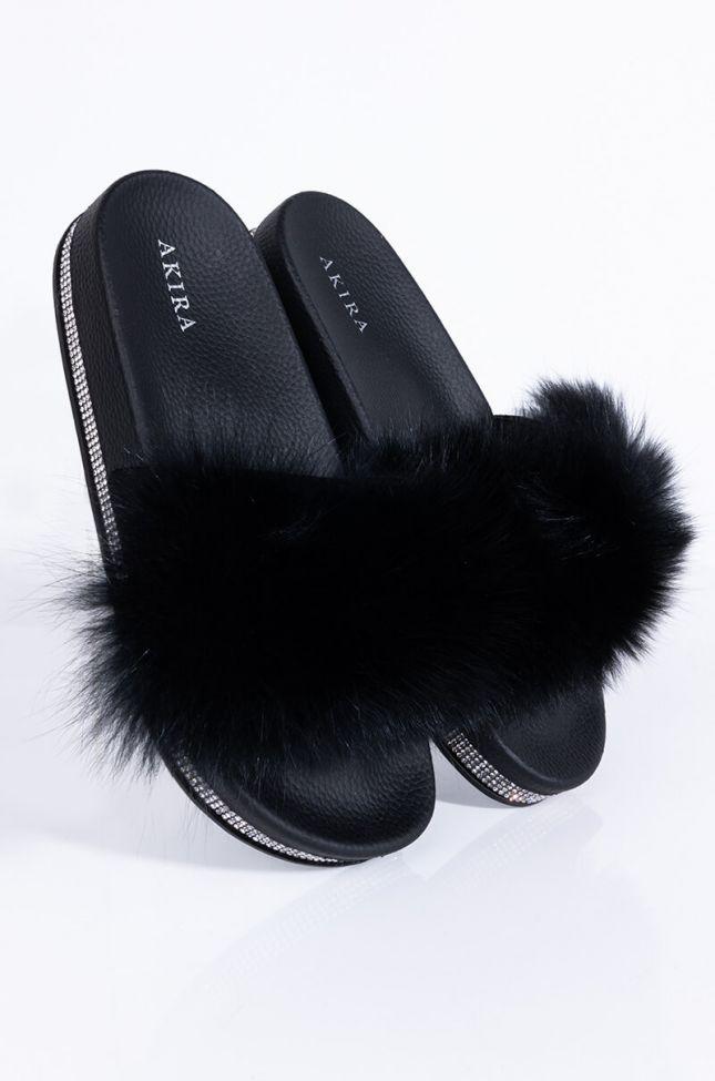 Front View Azalea Wang Girls Night In Flat Sandal In Black in Black