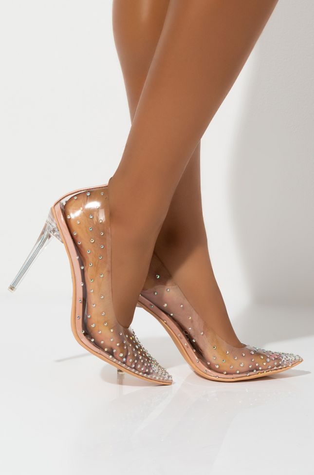 Side View Azalea Wang Glitter Princess Every Occasion Sexy Pumps in Nude