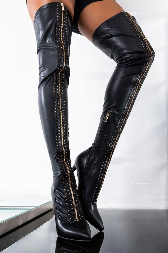Front View Azalea Wang Gold Zipper Thigh High Boot In Black Pu in Black Pu