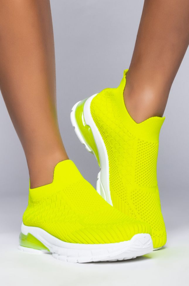 Side View Azalea Wang Good Things Are Coming Flat Sneaker In Lime in Lime