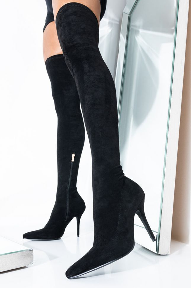 *SLIM FIT* AZALEA WANG GOT ME STUCK TO YOU FITTED THIGH HIGH STILETTO BOOT